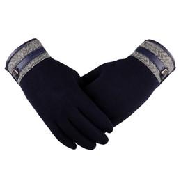 Leather Gloves For Men UK - Winter Gloves For Men Pattern Leather Side Buckle Gloves Men'S Winter Motorcycle Ski Guantes Invierno Hombre
