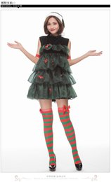 tree costumes NZ - 2018 Christmas New Explosion Christmas Tree Costume Green Women's Sleeveless Doll Skirt Christmas Dress Up Nightclub Bar Party Performance S