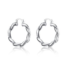 Chinese  Wholesale 925 Sterling Silver Plated Hoop Earrings Fashion Party Jewelry For Women Christmas Gifts Free Shipping manufacturers
