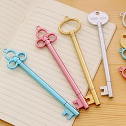 Pens Metal Canada - Korean creative student stationery fountain Vintage gold key Gel pen Metal texture Black pen