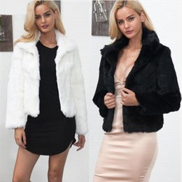 beautiful ladies clothes Canada - Ladies Imitation Fur Winter White short Jacket Clothes Beautiful Faux Fur Coats For Women Fashion Streetwear Outerwear