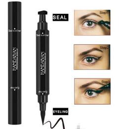 EyElinEr stamp online shopping - Hot new Liquid Eyeliner Stamp Pencils Long Lasting waterproof Eye Liner stamp seal double ended with black color