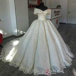 $enCountryForm.capitalKeyWord NZ - 2019 Dubai Arabic Lace Wedding Dresses A Line Appliques Off The Shoulder Sweep Train Luxury Wedding Dress With Petticoat Ruffle Bridal Gowns