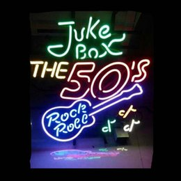 "$enCountryForm.capitalKeyWord NZ - Juke Box The 50s Rock Roll Guitar Neon Sign Party Concert Club Celebration Custom Handcrafted Real Glass Tube Display Neon Signs 24""X24"""