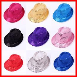 5962020d5e6fd ... colores bebé lentejuelas Dance Show Jazz sombreros niños gorras de  pescado Bling Bling Fedora Cap niños niñas sombreros de béisbol niños bola  sombreros