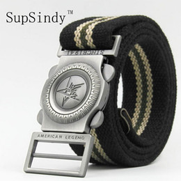 $enCountryForm.capitalKeyWord Canada - SupSindy Men's Canvas belt New fashion luxury knitted Star Metal Buckle military designer belts for men black strips 120cm 140cm
