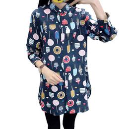 plus size white button down shirt 2018 - Women Cute Kawaii Long Shirt Ice Cream Sweets Print Long Sleeve 5XL Plus Size Top Turn-down Collar Button Down Casual Bl
