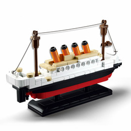 toys boats NZ - 5Set Lis 194 pcs 0576 Building Blocks Toy Titanic Ship Boat 3D Model Educational Gift Toy for Children