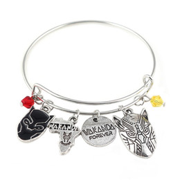 Africa Animals Canada - Silver Tone Black Panther Charm Bracelet With Life Tree Africa Map Spike Leopard Mask Charms Super Hero Brand Bangle Bracelet