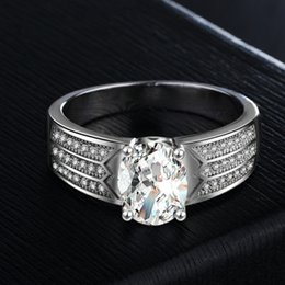 platinum wedding rings for couples 2019 - Luxury Fashion Women's Fine Jewelry Platinum White gold plated CZ Diamond Wedding Lover couples Rings Engagement Si