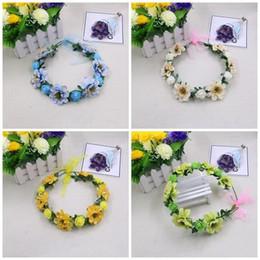 Decorative reD wreath online shopping - Wedding Brides Crown Head Ornaments Simulation Seaside Garland Headwear Decorative Flowers Fashion Creative Wreaths For Girls rw ff