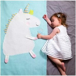 $enCountryForm.capitalKeyWord NZ - Newborn Baby Blanket Bed Crib Toddler Unicorn Pattern Knit Blankets Infant Soft Baby Fleece Pram Crib Blanket size 120*60cm 60Pcs