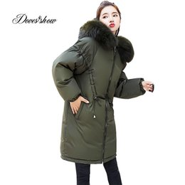 Fur coat wadded online shopping - Hooded Fur Collar Winter Down Coat Jacket Long Warm Women Cotton padded Casaco Feminino Abrigos Mujer Invierno Wadded Parkas