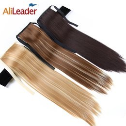 Discount synthetic ponytail blonde - AliLeader Made 80G 50CM Long Straight Synthetic Clip In Ponytail Hairpieces Natural Black Brown Blonde Ponytail Hair Ext