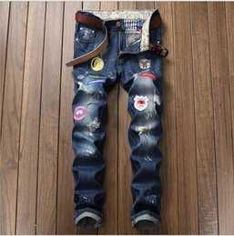dsel jeans NZ - New Hot Sale Fashion Men Jeans Dsel Brand Straight Fit Ripped Jeans Italian Designer Distressed Denim Jeans Homme!