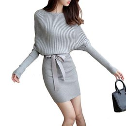 2483bad7430 Women s Sweater Dress Sexy Cotton Bow Elastic Spring Autumn Black and Gray Knitted  Dresses Vestidos Belt Party Dresses New Arrivals