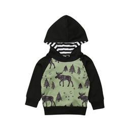 Cool Sweatshirt Jackets Canada - CANIS 2018 Infant Cool Toddler Boy Baby Boys Reindeer Print Hooded Sweatshirt Long Sleeve Hoodies Pullovers