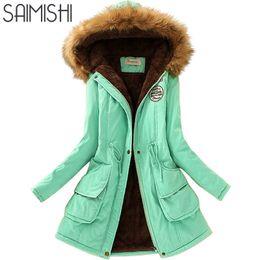 Chinese  2019 NEW Saimishi Autumn Winter Jacket Women Parka Warm Jackets Fur Collar Coats Long Parkas Hoodies Office Lady Cotton Plus Size Coats manufacturers
