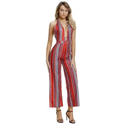 d9e9a60029e0 Sexy Backless Jumpsuits Navy Yellow Striped Deep V Neck Halter Wide Leg  Long Pants Overalls Rompers Clubwear