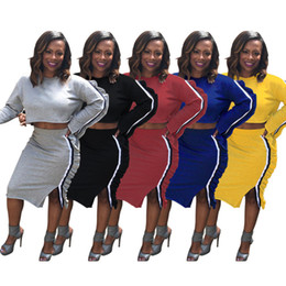 $enCountryForm.capitalKeyWord Canada - Women Two Piece Dress Ruffle Long Sleeve Crop Top Dress Casual set Sexy Hoodie SkirtsTwo Piece Sets Side Split Hoody Sweatshirt Dress suit