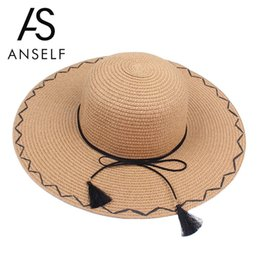Chinese  Anself Summer Hats For Women Chapeau Femme Sun Hat Beach Panama Straw Hat Large Wide Brim Black Ribbon Bow Visor Bone Female Cap manufacturers