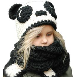 7fb34cecc19 Kids Panda Hat Autumn Winter Christmas Baby Panda Cap Scarf Wraps One-piece  Panda Knitted Cap Handmade Crochet Neckerchief For Children