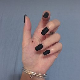 Discount punk stickers - 24pcs Matte Solid Pure Black Punk Fake Nails Press on Oval Black Frosted False Nail Full Cover False Nails with Glue Sti