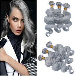 Discount tangle free hair extensions - Virgin Brazilian Silver Grey Human Hair Weave Bundles 3Pcs Lot Body Wave Pure Grey Color Human Hair Extensions Double We