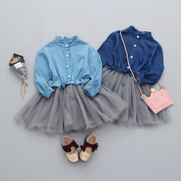 Denim style for babies online shopping - Baby Girl Dress Children long sleeve Denim Lace Dresses with button Kids Princess Autumn Dresses For Girls