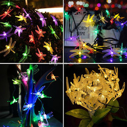 dragonfly garden lights NZ - Newest LED Dragonfly Solar Powered Light Halloween Christmas Decorations 20 Lights Home Outdoor Garden Patio Party Holiday Supplies WX9-39