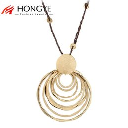 $enCountryForm.capitalKeyWord Australia - whole saleNew Charms Long Rope Chain Necklace Jewelry Gold-Color Polishing Multi-Circle Round Pendant Necklace Women Collares Largos