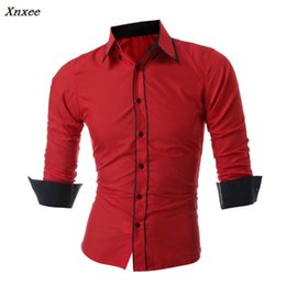 Double Shirt Designs Canada - Xnxee 2018 New Mens Long Sleeved Man Dress Shirts Double Collar Button Unique Design Slim Fit Brand Shirts Male