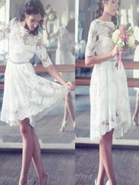$enCountryForm.capitalKeyWord NZ - Simple Knee length Wedding Dresses White For Women Sheer Neck Half Sleeve Country Garden Lace Bridal Gowns uk Crystal Beaded robe de mariée