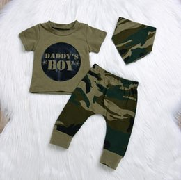 $enCountryForm.capitalKeyWord NZ - Hotsale summer baby boy girls camouflage T-shirts 3PCS set unisex Military green print suits free shipping