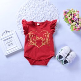 red summer jumpsuit Australia - Summer Baby INS Romper Letter Love Print One Pieces Short Sleeve Half Wild Cotton Jumpsuits Infant Letter Baby Clothing Romper Red GC229A