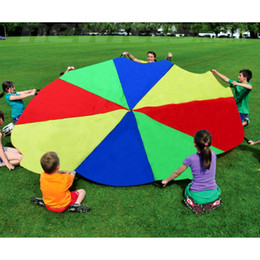 Chinese  Kids Game Play Parachute 2m Rainbow Umbrella Fun Jump -Sack Ballute Outdoor Toys for Children Birthday Party Supplies manufacturers