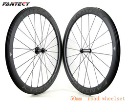 wheel set bike UK - FANTEC Free shipping 700C 50mm depth 25mm width road bike Full carbon wheels Clincher Tubular road bicycle carbon wheelset with 271 372 hub