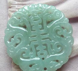 $enCountryForm.capitalKeyWord Australia - Burmese jade A cargo hollow carving card Ssangyong Zhushou jade pendant light green antique Shou jade pendant