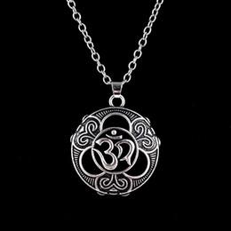 $enCountryForm.capitalKeyWord UK - Silver Color Hinduism Yoga Buddhist Om Ohm Pendant Necklace Vintage India Necklace Jewelry Gifts