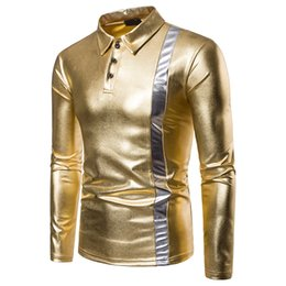 T Shirt Design Color NZ - Autumn Long sleeved T-shirt Gold silver color patchwork design Fashion brand Men's new slim t shirt dress men EU large size XXL