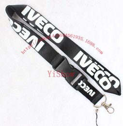 lead phone holder UK - The charisma of a car IVECO Lanyard Keychain Key Chain ID Badge cell phone holder Neck Strap black.