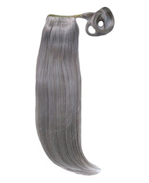 China Grey hair weave ponytail hair piece clip in straight human virgin wrap around gray drawstring horse tail women hairpieces 10-20inch 120g cheap peruvian straight color ponytail suppliers