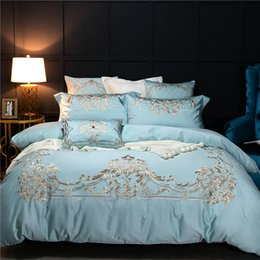 royal beds 2019 - Blue Luxury European Style Royal Embroidery 60S Egyptian cotton Bedding Set Duvet Cover Bed sheet Bed Linen Pillowcases