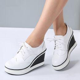 8e59f6aee Creeper Shoes Women Platform Canada - Women Wedge Platform Oxford Brogue Genuine  Leather Lace Up High