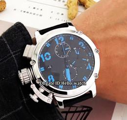 big size luxury watches 2019 - Cheap Big Size 50mm Date Limited Edition U51 U-51 Black Dial Quartz Chronograph Mens Watch Chimera 7474 Leather Strap Ge