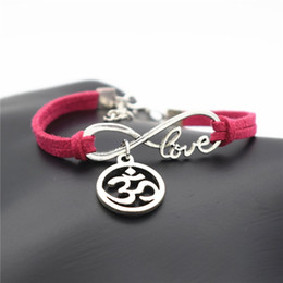 $enCountryForm.capitalKeyWord NZ - Fashion Multiple Layers Punk Rose Red Leather Bracelets Classic Infinity Love Round 3D Rope Charm Bangles For Men Women Armband Jewelry Gift