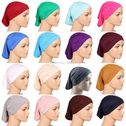 MusliM headwear online shopping - Muslim Head Scarf Mercerized cotton  headkerchief Cover Headwear Solid color Caps 5ddfaab560c