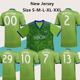 37a3d6510 2018 2019 Seattle Short Sleeve Soccer Jersey 2 DEMPSEY 13 MORRIS 10 LODEIRO  29 TORRES 7 ROLDAN 18 19 Custom version of football jersey.