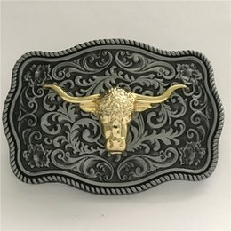 belt bull NZ - 1 Pcs Silver Golden Bull Head Cowboys Belt Buckle Woman Man Jeans Jewelry Accessories Metal Belt Head Fit 4cm Wide Belt