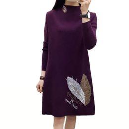 4548964ff26 2018 New Autumn Winter Dress Women Long Sleeved Turtleneck Knitted Pullover  Sweater Dress Plus Size Loose Long Wool Vestidos C22